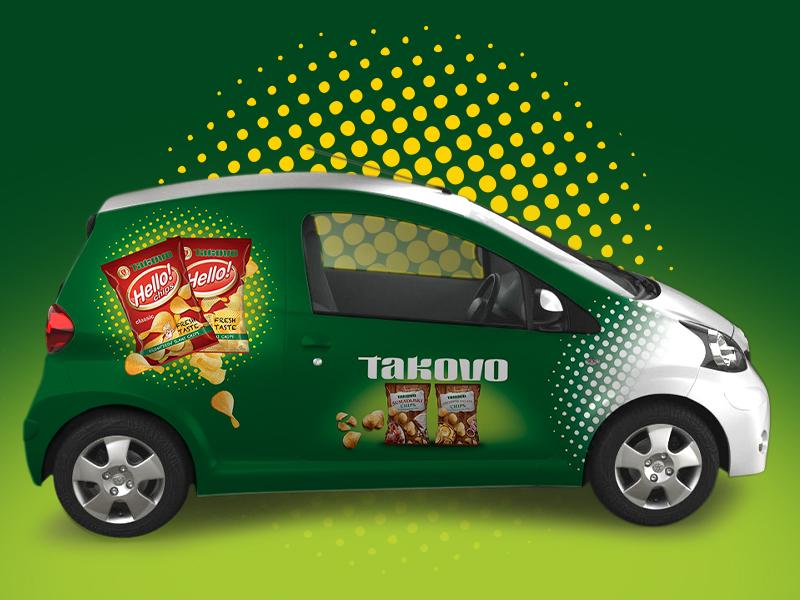 Dizajn sa desne bocne strane vozila takovo chips proizvodi.
