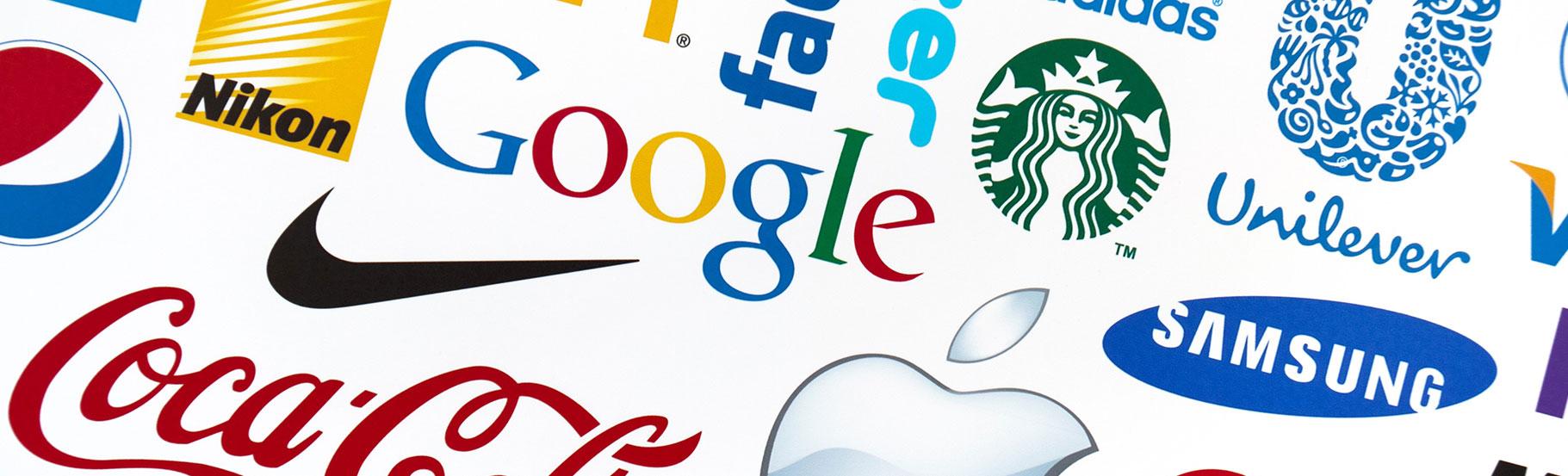 više različitih logotipa zajedno kao što je googl