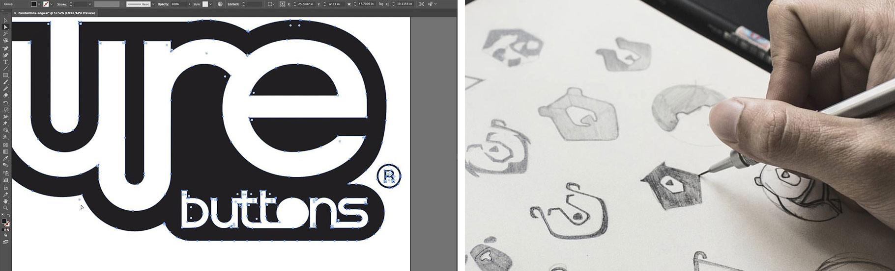 skice logotipa mede