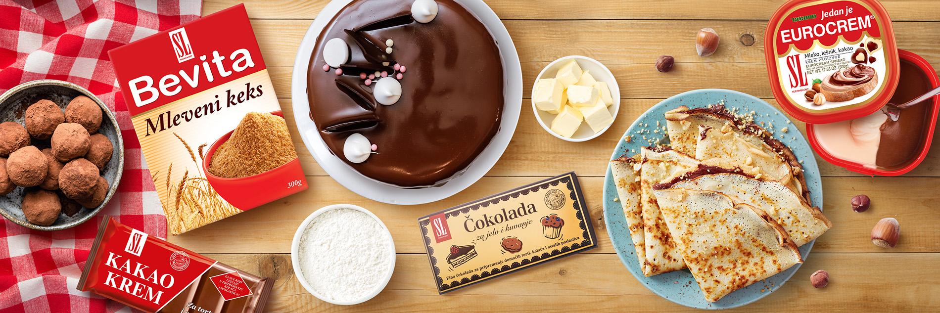 slika pogled odozgo vidi se ambalaža bevita, kako krem, eurocrem SL čokolada i palačinke