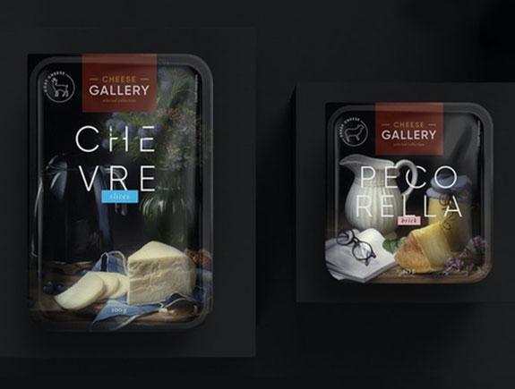Elegantno crno pakovanje sa sirom na slici