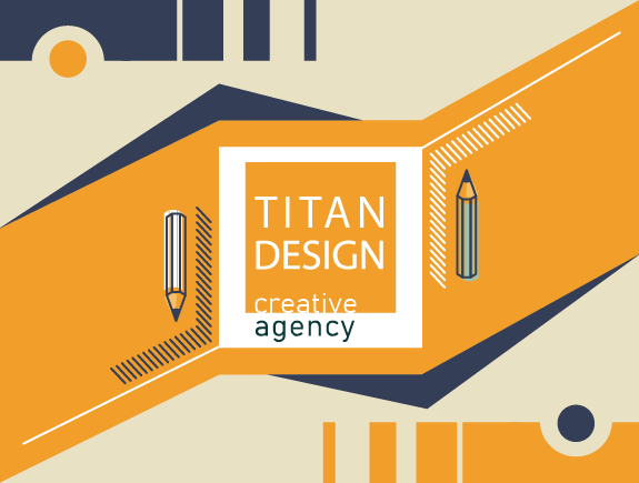 Logo Titan dizajn i dve olovke sa obe strane