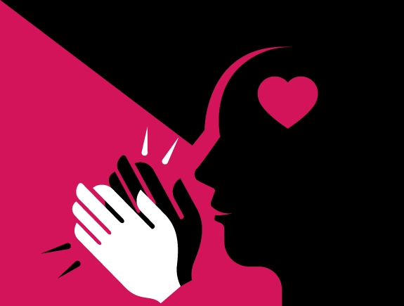 Profil sa srcem u glavi, crna i bela ruka